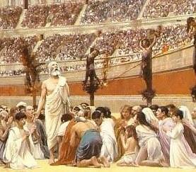 Perseguição romana: muitos cristãos eram levados ao coliseu e servia de espetáculo às multidões